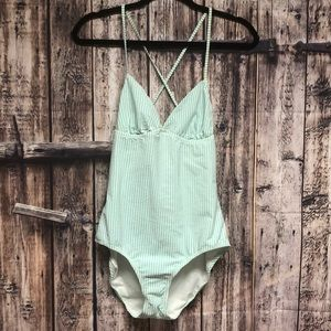 J. Crew size 8 aqua green & white stripe swimsuit
